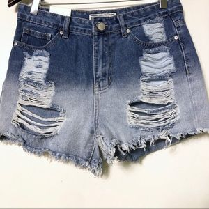 NWT American Bazi distressed shorts size M